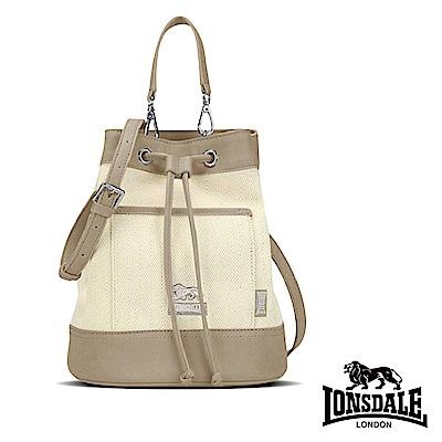 【LONSDALE 英國小獅】帆布皮革飾邊束口水桶包-淺棕 LD1324