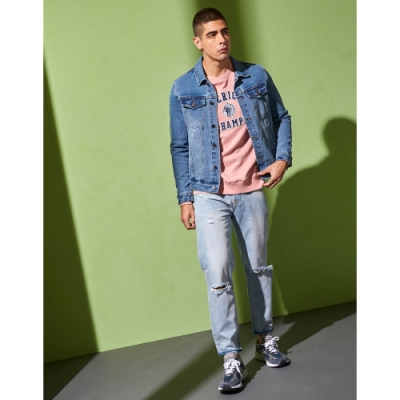 CACO-彈性刷色牛仔外套(兩色)-男【UAR014】