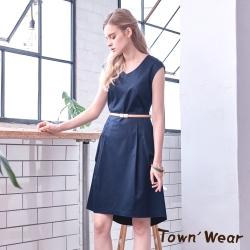 【TOWNWEAR棠葳】知性優雅無袖洋裝-附腰帶