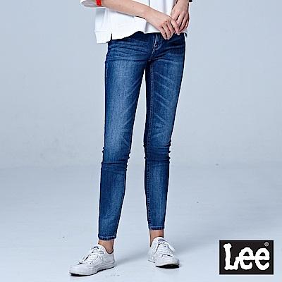 Lee 418中腰緊身窄管牛仔褲-中藍色