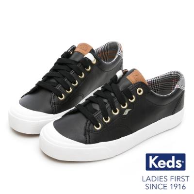 Keds CREW KICK 蘇格蘭紋撞色皮革休閒鞋-黑