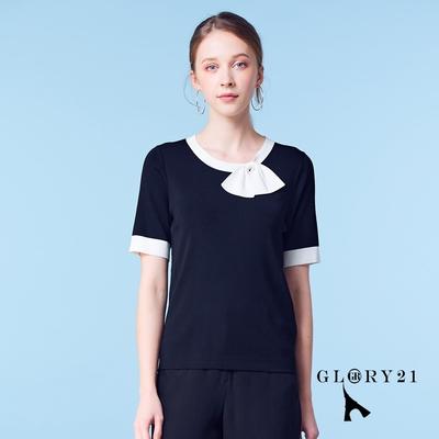 【GLORY21】新品-衣領蝴蝶結上衣-黑色