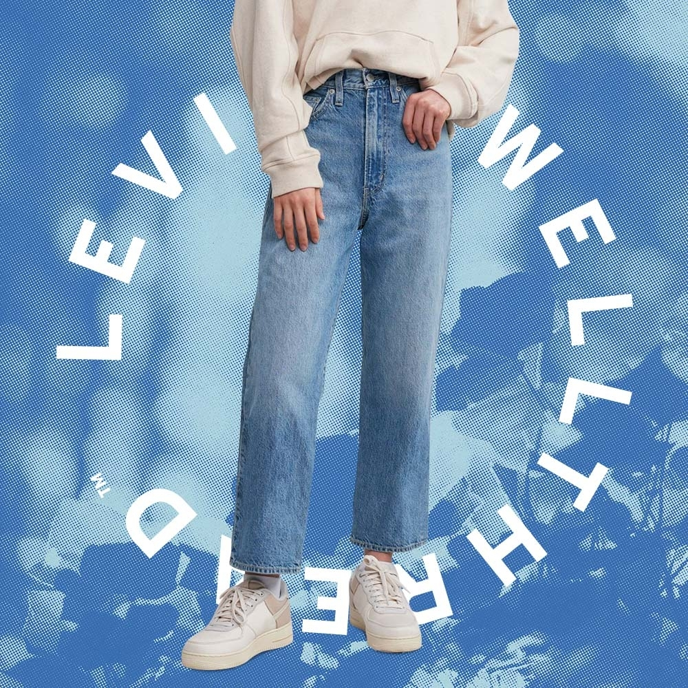 Levis Wellthread環境友善系列 女款 Ribcage 復古超高腰直筒牛仔褲 創新棉化寒麻纖維