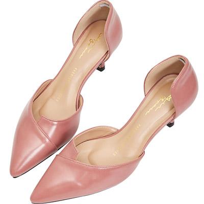 AIR SPACE 素面時尚漆皮尖頭中跟鞋(粉紅)