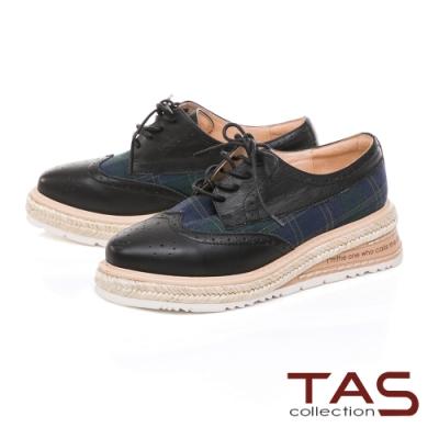 TAS 異材質拼接雕花草編厚底牛津鞋-百搭黑