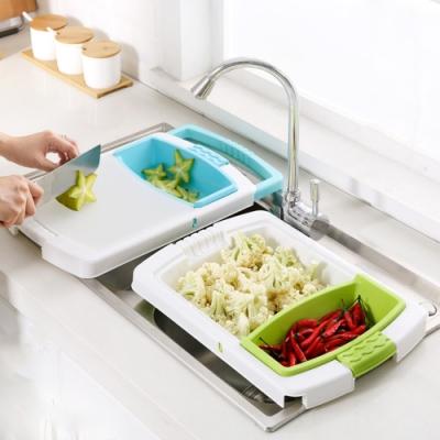 多功能洗菜瀝水籃切菜板 8.7X48CM