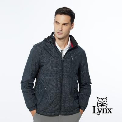 【Lynx Golf】男款3M反光紗設計刷毛保暖格紋拉鍊口袋長袖可拆式連帽外套-黑色