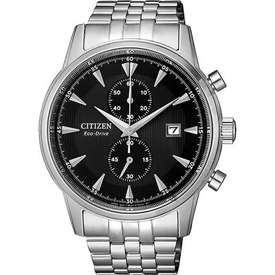 CITIZEN 星辰 光動能紳士計時手錶-黑x銀/42.5mm