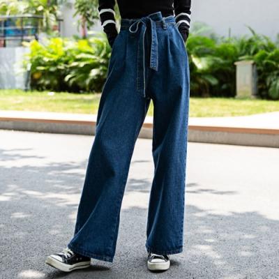 La Belleza牛仔鬆緊腰單釦附腰綁帶側口袋臀部口袋牛仔闊腿褲寬褲