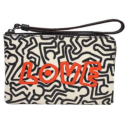 COACH  Keith Haring聯名PVC拉鍊萬用手拿包(黑白/LOVE)