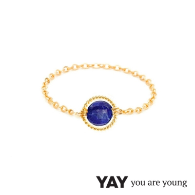 YAY You Are Young 法國品牌 Riviera 青金石鍊戒 金色圓形款