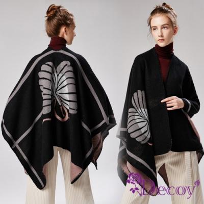 Decoy 花漾綻放 雙色加大保暖斗篷式披肩 黑