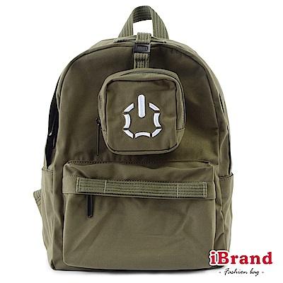 iBrand後背包 簡約素色輕旅行多功能後背包-軍綠色