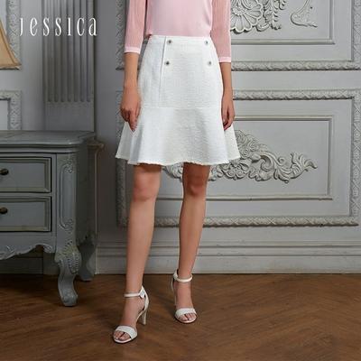 JESSICA - 氣質甜美雙排釦花呢A字短裙