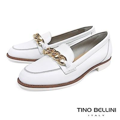 Tino Bellini 義大利進口大方率性環形鍊釦莫卡辛鞋 _ 白