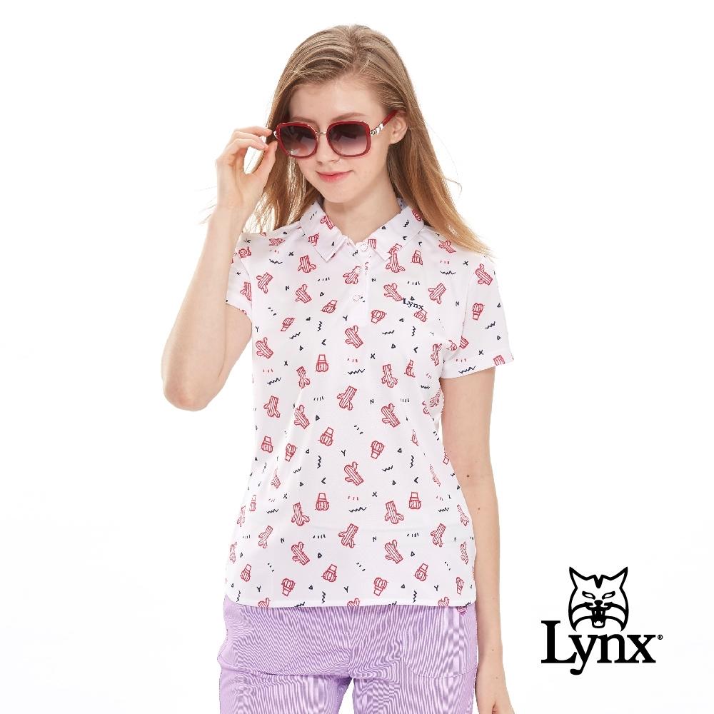 【Lynx Golf】女款滿版仙人掌印花網眼布短袖POLO衫-白色