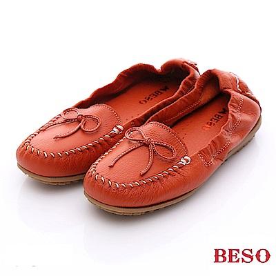 BESO 簡約知性 柔軟牛皮蝴蝶結樂福便鞋~橘