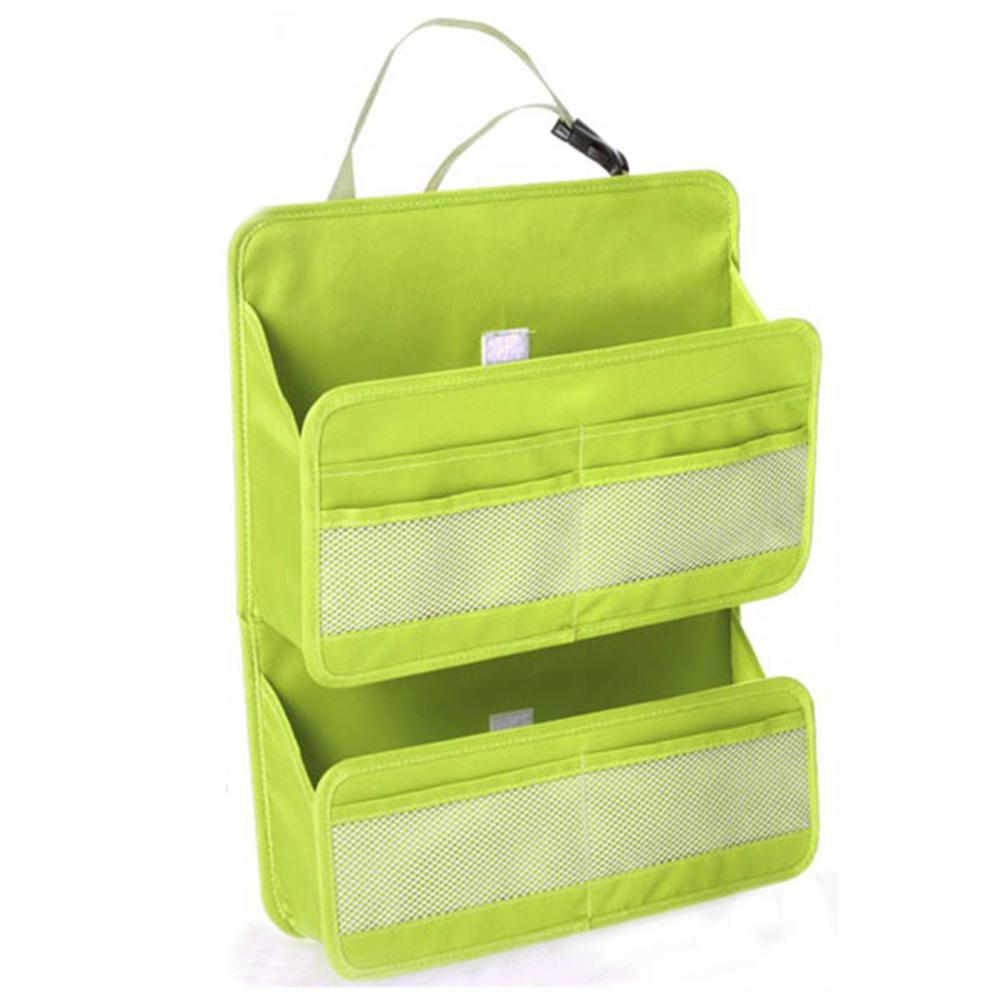 iSFun 汽車收納 椅背雙層多功能收納掛袋- 綠