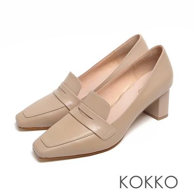 KOKKO超平頭樂福素面柔軟小羊皮粗跟鞋駝灰色