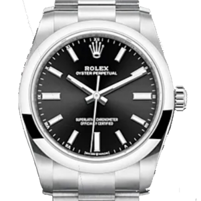 ROLEX 勞力士 124200 新款 OYSTER PERPETUAL 黑色 34mm