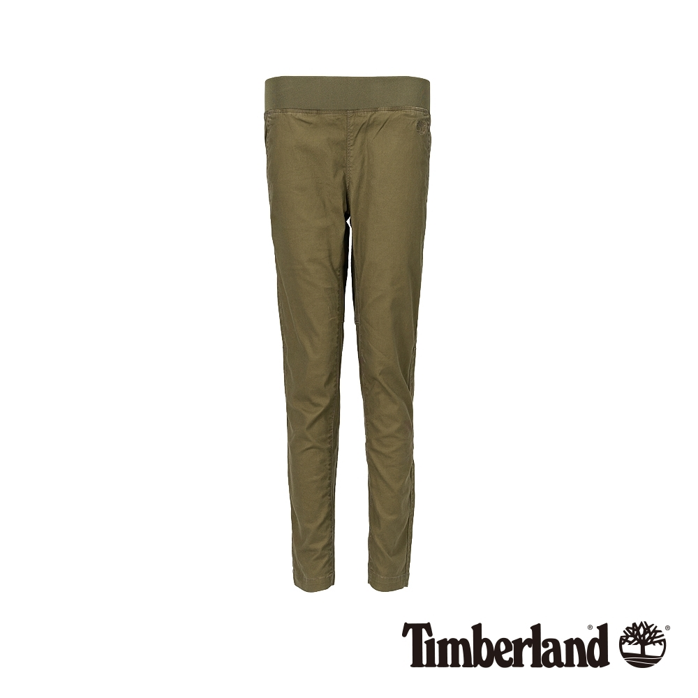 Timberland 女款橄欖綠休閒彈力亞麻長褲|B4204