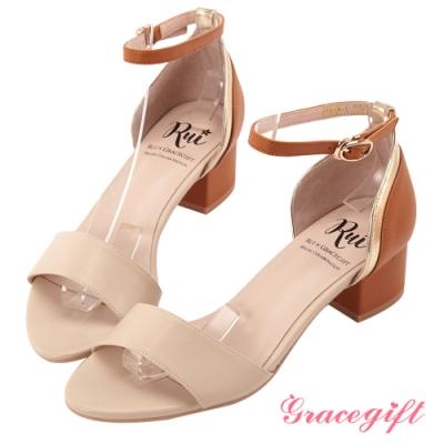 Grace gift X Rui-聯名撞色一字中跟涼鞋 米白