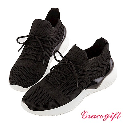 Grace gift-綁帶織布運動休閒鞋 黑