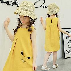 小衣衫童裝    中大童可愛貓口袋傘狀背心裙1070304