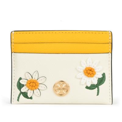 TORY BURCH Robinson 花卉拼貼防皮革卡片證件夾-黃/白