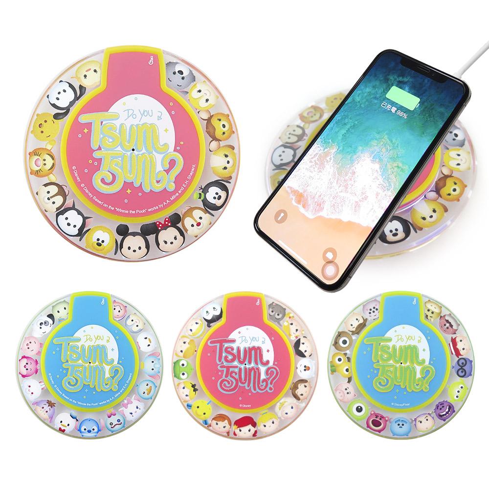 Disney迪士尼 TsumTsum透明水晶無線充電座/充電板