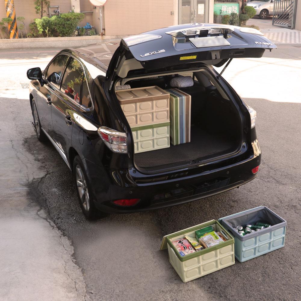 ANDYMAY2 無印風大容量多功能帶蓋摺疊防水收納箱+防水收納袋(2組)