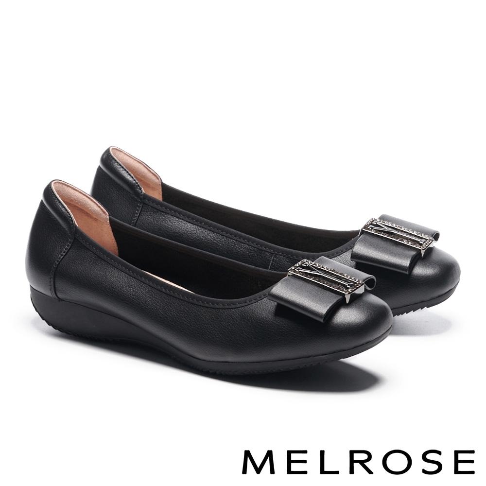 低跟鞋 MELROSE 氣質高雅蝴蝶結全真皮方頭低跟鞋-黑