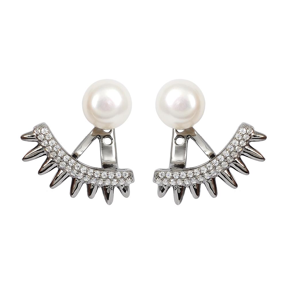 apm MONACO法國精品珠寶 閃耀深灰銀色鑲鋯珍珠SPIKE 耳針式耳環