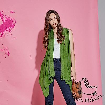 Hana+花木馬 時尚百搭必備單品不規則造型麻製長版針織上衣罩衫-綠