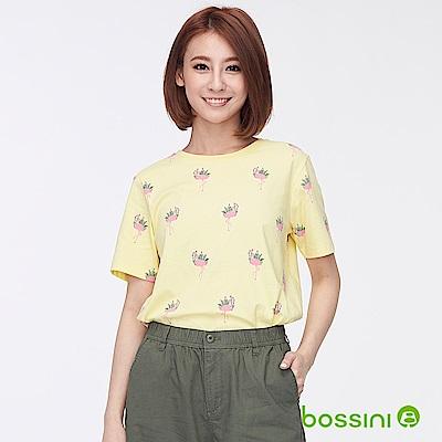 bossini女裝-圓領全版印花上衣01淺黃
