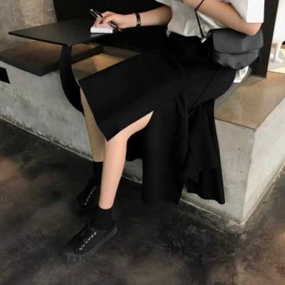 La Belleza素面鬆緊腰不規則不對稱剪裁開叉長裙