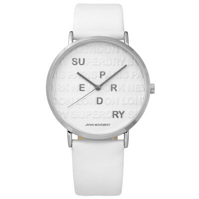 Superdry 極度乾燥 亮麗氣質百搭潮流日本機芯真皮手錶-白色/40mm