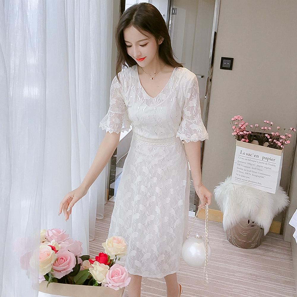 時尚名媛蕾絲洋裝S-XL(共兩色)-Dorri