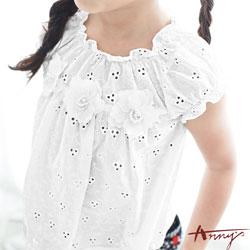 Annys立體抓摺領蕾絲立體珍珠花朵短袖上衣*7165白