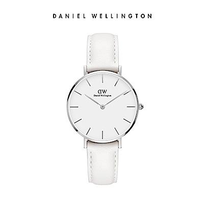 DW 手錶 官方旗艦店 32mm銀框 Classic Petite 純真白真皮皮革