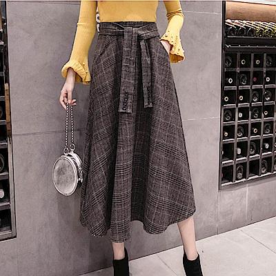 La Belleza格子鬆緊腰綁帶側口袋毛料格紋大擺長裙
