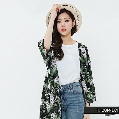 H:CONNECT 韓國品牌 女裝-夏日印花開襟罩衫-藍