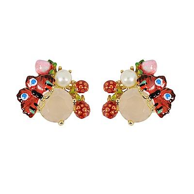 Les Nereides 動物花園系列 蝴蝶珍珠寶石耳環 耳針式
