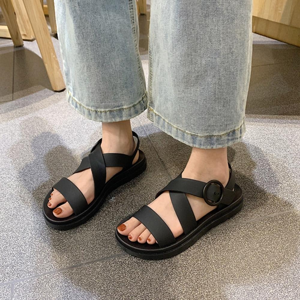 KEITH-WILL時尚鞋館 獨家價年度精選羅馬簡約平底涼鞋-黑