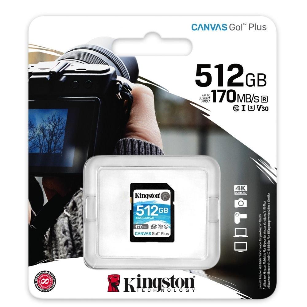 金士頓 KINGSTON SDG3 SDXC 170MB 512G U3 V30 A2 記憶卡