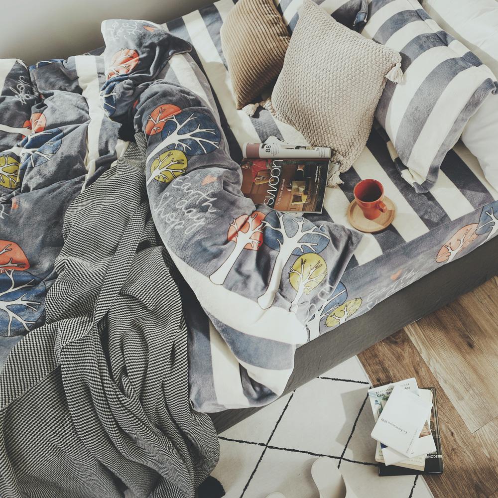絲薇諾 森森 加大四件式-法蘭絨 抗靜電鋪棉床包被套組