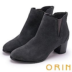 ORIN 經典復古 素面俐落彈力鬆緊粗跟短靴-灰色