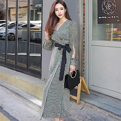 DABI 韓系氣質V領系帶收腰防曬裙時尚長袖洋裝
