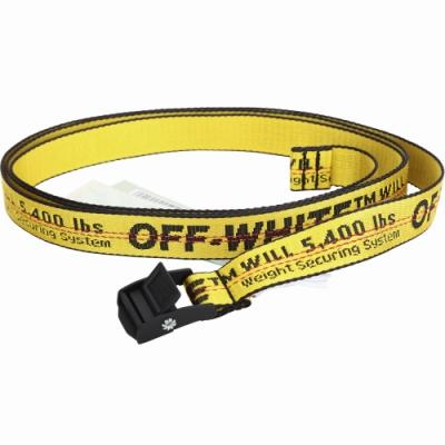 Off-White 品牌字母織紋腰帶(黃色)