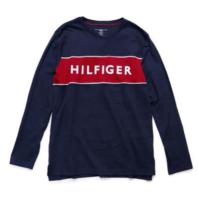Tommy Hilfiger 圓領男款薄長袖T恤 (深藍)